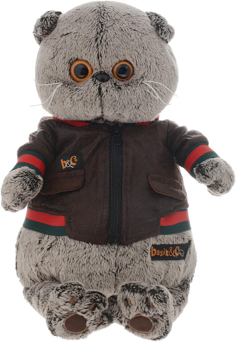 Мягкая игрушка Басик в кожаной куртке 30 см