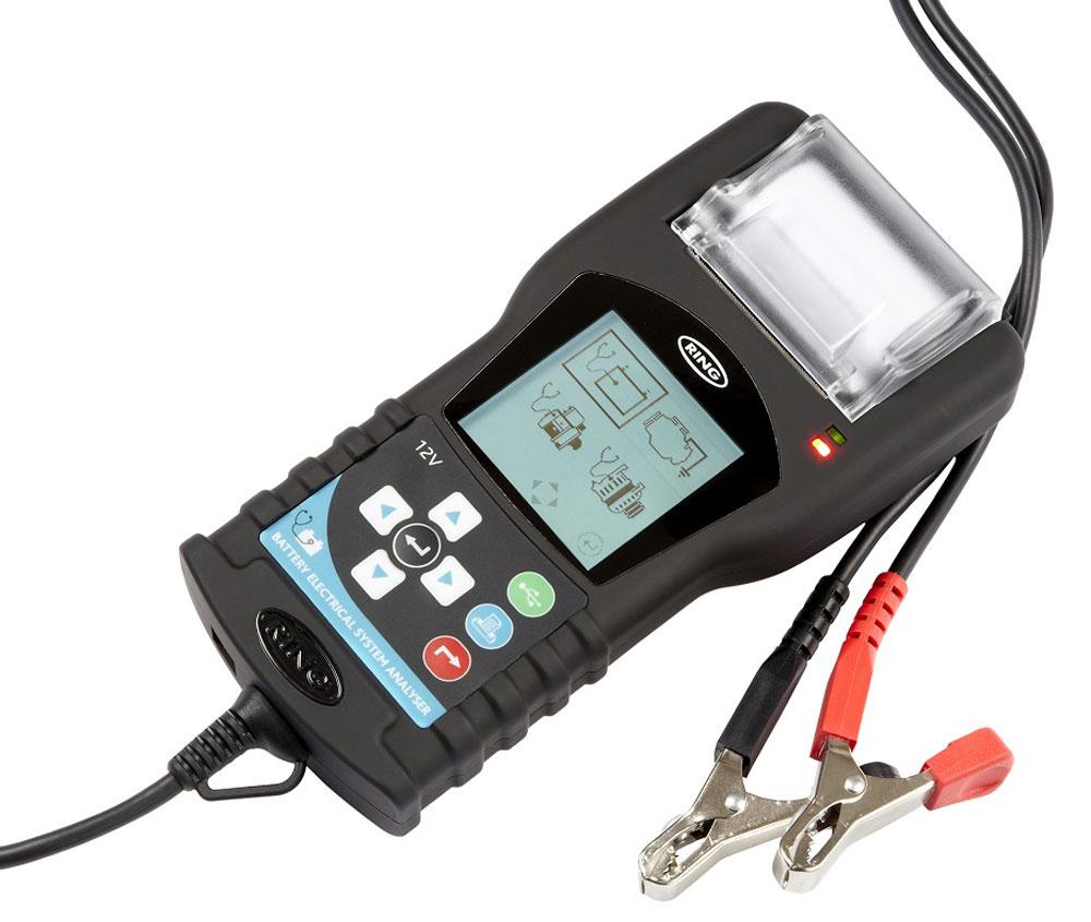 Тестер аккумуляторных батарей Ring Automotive, со встроенным термопринтером. RBAG70020736Прибор английской компании Ring Automotive предназначен для тестирования всех типов свинцово-кислотных (в т.ч. AGM, GEL) 12В аккумуляторных батарей установленных на автомобилях, мотоциклах, малотоннажных грузовиках. Микропроцессорное управление, цифровой LED дисплей, вольтметр. Выбор стандартов тестирования CCA/SAE, DIN, EN1, EN2, IEC, JIS,CA/MCA. Диапазон измерений тока холодной прокрутки: 40-600CCA и 100 - 2000CCA. Измерение внутреннего сопротивления АКБ, тест генератора. Интуитивно понятная навигация и результаты тестирования. Защита от обратной полярности. Хранение результатов тестирования в устройстве и передача данных на компьютер через USB. В комплект входит програмное обеспечение для вывода отчетов через компьютер. Прочный пластиковый ящик. Встроенный термопринтер.
