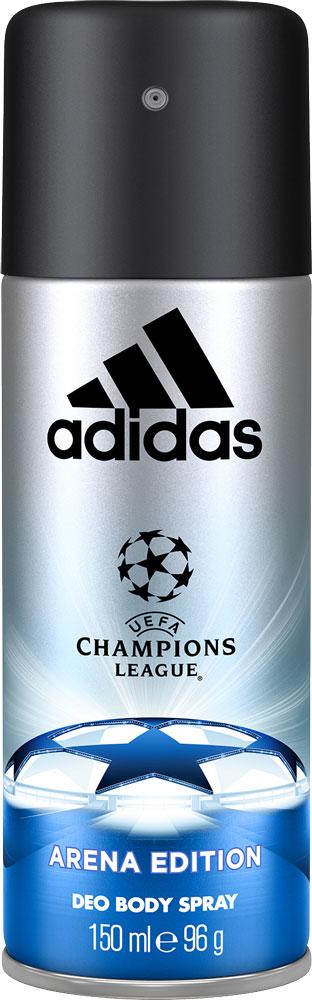 Adidas Парфюмированный део спрей UEFA III мужской, 150 мл5010777139655UEFA Champions League отражает основные качества настоящих игроков: стремление к победе, силу воли, горячее желание сделать свою жизнь лучше и играть в ней ключевую роль по своим правилам. Аромат раскрывается нотами бергамота, яблока и розмарина. Они придают композиции взрывную свежесть.Сердце строится вокруг звучания герани и жасмина с ненавязчивым аккордом кориандра. Ноты бобов тонка и пачули создают мощную теплую базу аромата, приправленную мускусом, который продлевает звучание парфюмерной композиции.
