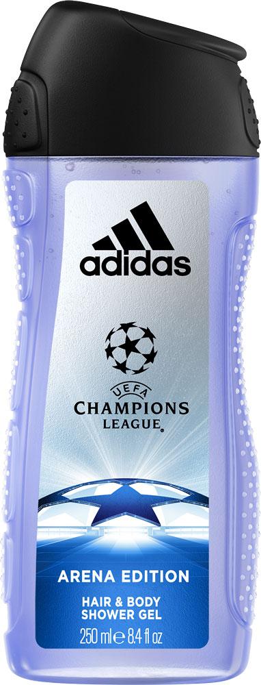 Adidas Гель для душа UEFA III мужской, 250 млFS-00610Гель для душа Adidas Arena прекрасно очищает и питает кожу. Специальная формула геля обеспечивает максимальное увлажнение и защиту от пересыхания. Аромат раскрывается нотами бергамота, яблока и розмарина. Они придают композиции взрывную свежесть.Сердце строится вокруг звучания герани и жасмина с ненавязчивым аккордом кориандра. Ноты бобов тонка и пачули создают мощную теплую базу аромата, приправленную мускусом, который продлевает звучание парфюмерной композиции.