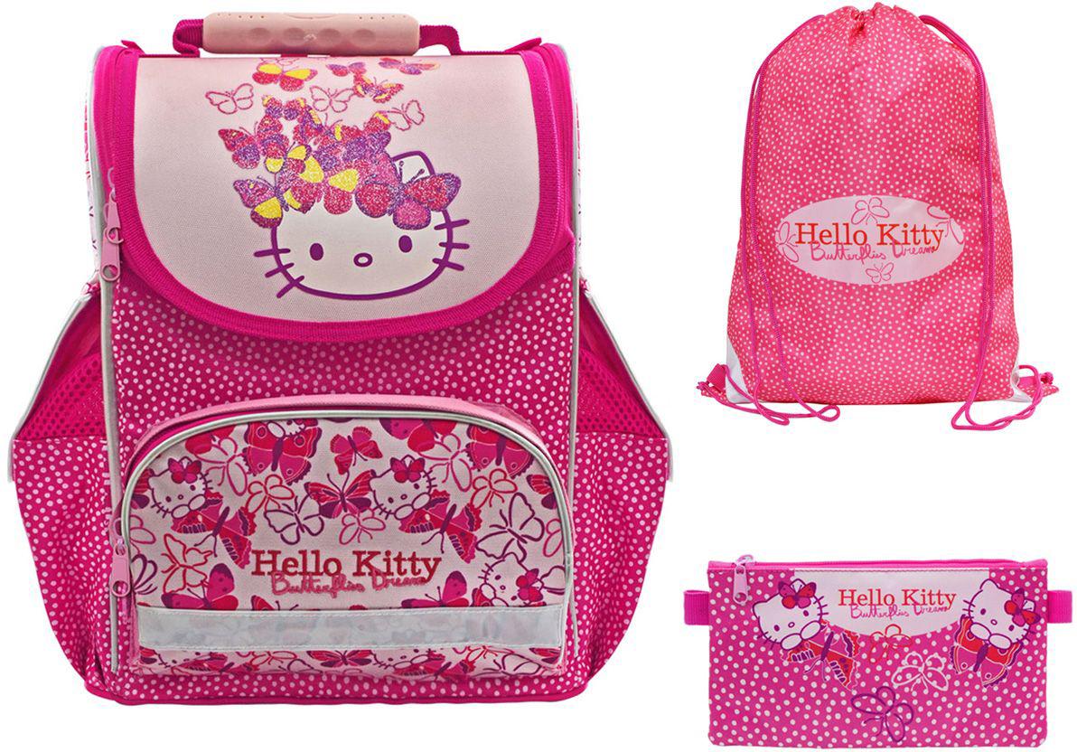 Action! Ранец школьный Hello Kitty с наполнением72523WDЛицензионный дизайн Hello Kitty для девочек.Ранец комплектуется мешком для обуви, и пеналом-косметичкой.Жесткая рельефная анатомическая спинка повышенной комфортности, с вентилируемой системой задней спинки. Анатомический рельеф спинки повторяет естесственный изгиб позвоночника, что позволяет держать спину прямо и оптимально распределять нагрузку на спину ребёнка, а также создает дополнительный комфорт для ношения ранца на спине.Вес рюкзака составляет меньше 900 г, что соответствует идеальным нормам нагрузки на спину.На нижнем кармане лицевой стороны имеется светоотражающая полоска безопасности по всему периметру кармана.Два боковых кармана и задние лямки со светоотражающими элементами безопасности.Устойчивое дно защищено водооталкивающим материалом и имеет 4 пластиковые ножки для большей устойчивости.Мешок для обуви, размером 43х34 см, имеет на лицевой стороне 2 светоотражающие полоски. Имеются фиксаторы положения. Без кармана.Пенал-косметичка, разм 21,5х12 см, имеет 1 отделение на молнии, без наполнения