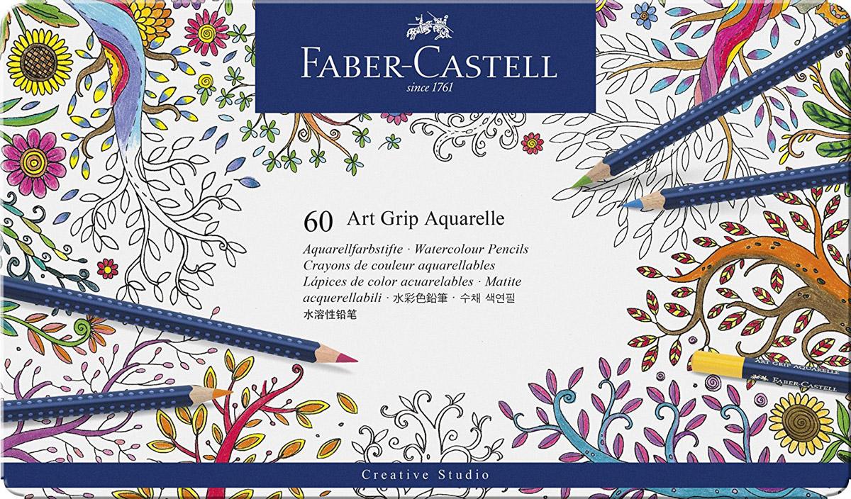 Faber-Castell Акварельные карандаши Art Grip Aquarelle 60 шт72523WDАкварельные карандаши Faber-Castell Art Grip Aquarelle прекрасно подойдут для любителей и начинающих художников, которые ценят качество в их увлечении.Акварельные карандаши Art Grip Aquarelle имеют эргономичную трехгранную форму со специальной технологией вклеивания грифеля (SV), что предотвращает его поломку. Грифели этих карандашей с высоким содержанием пигментов, что прекрасно отражается на рисунках, не зависимо от типа бумаги, на которых они наносятся. Каждый карандаш имеет высокую интенсивность цвета. В наборе 60 цветов и оттенков.Все карандаши аккуратно упакованы в жестяную коробку.Такие акварельные карандаши по качеству превосходит стандартные акварельные краски, а значит идеально подходят для создания правильного рисунка. С помощью увлажненной кисточки можно придать потрясающий, интересный и уникальный акварельный эффект любому рисунку, ранее нанесенного с помощью акварельных карандашей.Акварельные карандаши Faber-Castell Art Grip Aquarelle будут отличным подарком начинающему художнику!