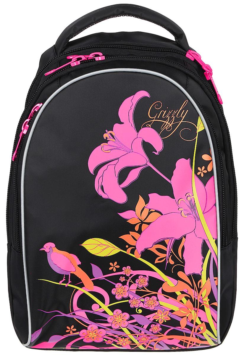 Grizzly Рюкзак детский цвет черный розовый RG-657-2/272523WDДетский рюкзак Grizzly - это красивый и удобный рюкзак, который подойдет всем, кто хочет разнообразить свои школьные будни. Рюкзак выполнен из плотного материала и оформлен оригинальным цветочным принтом спереди.Рюкзак имеет два основных отделения, закрывающиеся на застежки-молнии с двумя бегунками, а также вместительный накладной карман спереди, внутри которого располагается большой накладной карман и три маленьких накладных кармашка для канцелярских принадлежностей. Бегунки дополнены удобными металлическими держателями с логотипом Grizzly.Самое большое отделение имеет небольшой карман на застежке-молнии. Второе отделение не имеет карманов. Рюкзак оснащен удобной текстильной ручкой для переноски в руке и светоотражающими элементами.Спинка дополнена эргономичными воздухопроницаемыми подушечками, которые обеспечивают удобство и комфортно при носке. Мягкие анатомические лямки скругленной формы регулируются по длине.Многофункциональный школьный рюкзак станет незаменимым спутником вашего ребенка в походах за знаниями.