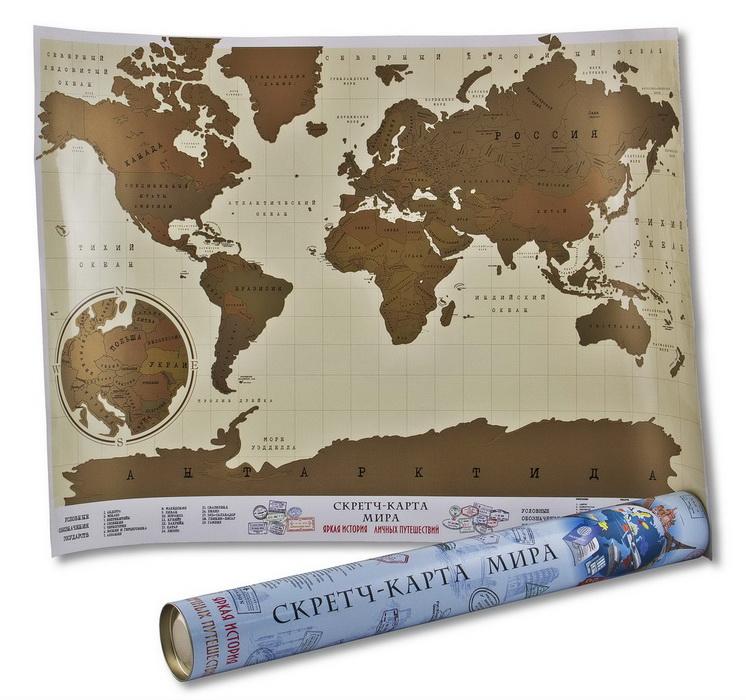 Скретч-карта АРТ-студия Классик Карта Мира, 58 х 82 см. Авторская работа. СКМ-01RG-D31SНа карте каждая страна покрыта защитным слоем. Достаточно стереть монетой страну,в которой побывал, чтобы увидеть яркую историю личных путешествий.