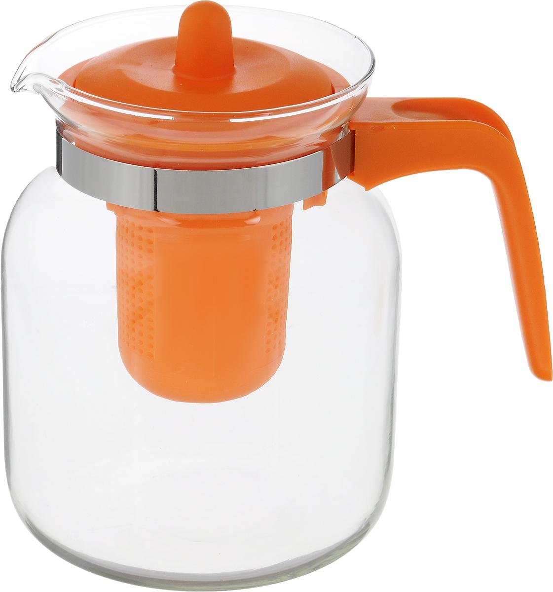 Чайник-кувшин Menu Чабрец, с фильтром, цвет: прозрачный, оранжевый, 1,45 лVT-1520(SR)Чайник-кувшин Menu Чабрец изготовлен из прочного стекла, которое выдерживает температуру до 100°C. Он прекрасно подойдет для заваривания чая и травяных настоев.Классический стиль и оптимальный объем делают чайник удобным и оригинальным аксессуаром, который прекрасно подойдет для ежедневного использования. Ручка изделия выполнена из пищевого пластика, она не нагревается и обеспечивает безопасность использования. Благодаря съемному ситечку и оптимальной форме колбы, чайник-кувшин Menu Чабрец идеально подходит для использования его в качестве кувшина для воды и прохладительных напитков.Диаметр чайника по верхнему краю: 10,3 см.Общий диаметр чайника: 11 см.Высота чайника (без учета ручки и крышки): 15,6 см.Высота чайника (с учетом ручки и крышки): 17 см.