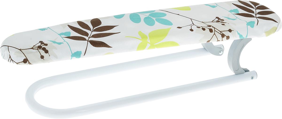 Нарукавник для гладильной доски Gimi Planet, цвет: коричневый, бирюзовый, белый, 52 x 12 x 11 см12760620_листочкиНарукавник для гладильной доски Gimi Planet сочетает в себе качество, удобство и практичность. Предназначен для проглаживания рукавов и других трудно проглаживаемых частей одежды. Конструкция нарукавника выполнена из высококачественной крашеной стали. Рабочая поверхность обтянута чехлом из натурального хлопка. Нарукавник легко складывается и не занимает много места в сложенном состоянии, что делает его удобным для хранения.Размер рабочей поверхности: 50 x 10 см. Размер нарукавника (в сложенном виде): 53 х 12 х 6 см. Размер нарукавника (в разложенном виде): 50 х 12 х 11 см.