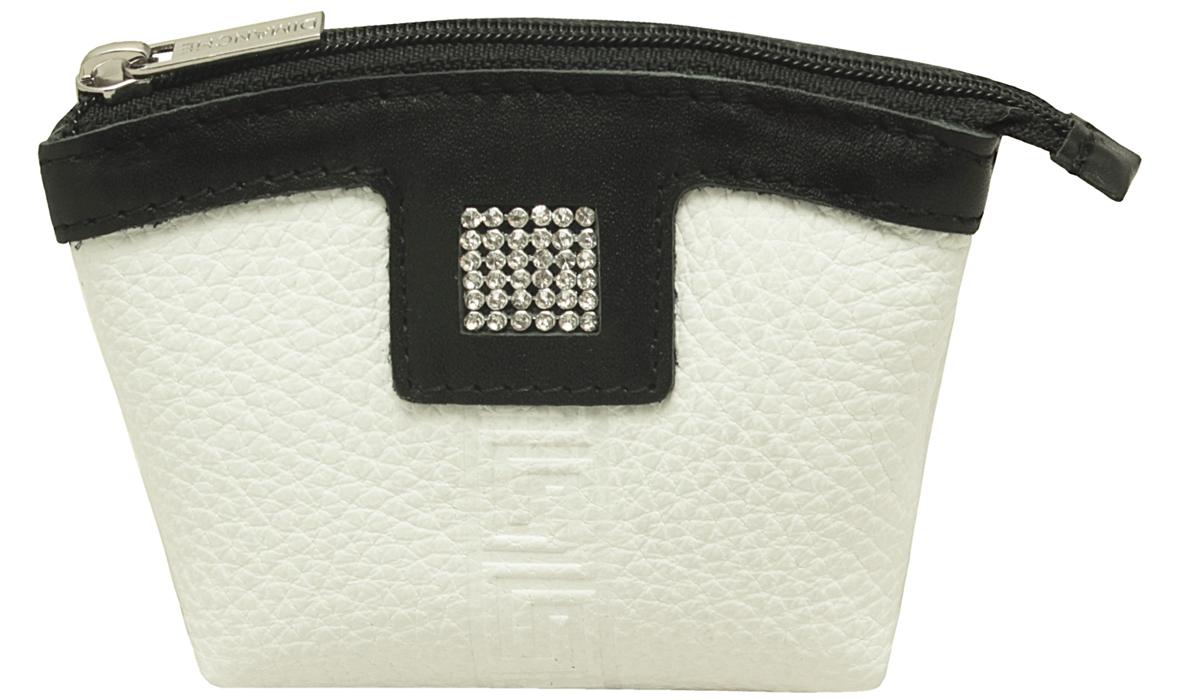 Кошелек женский Dimanche Parfum, цвет: белый, черный. 477104-5860Удобный многофункциональный кошелечек-монетница. Украшен высококачественными стразами. Закрывается на молнию, внутри на подкладке.
