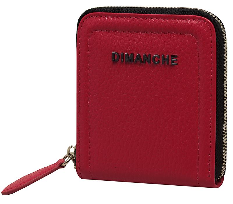 Кошелек женский Dimanche Премиум, цвет: красный. 590/33/1ERJAA03224-WBT0Стильный кошелек на молнии Dimanche Премиум выполнен из натуральной кожи. Внутри два отделения для купюр, 5 кармашков для визиток/кредиток и карман для мелочи на кнопке.