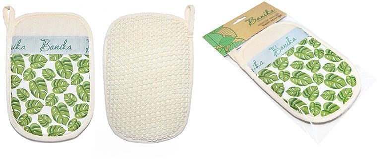 Мочалка-рукавица Banika, сизаль. М444FM 5567 weis-grauМассажная рукавица для интенсивного ухода. Сизаль — натуральное вязаное полотно из нитей мексиканской агавы. Удобный эргономичный размер рукавицы, обильное пенообразование, антицеллюлитный массаж, эффект пилинга. Уникальный дизайн. Подходит для любителей жестких мочалок.
