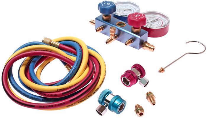JTC Коллектор манометрический для хладагента R-134a. JTC-1105JTC-4281Содержит ответвитель JTC-1107. Манометрический коллектор для хладагента R-134а, оснащенный смотровым стеклом и 3-мя цветными шлангами длиной 150 см. Высокое давление: 0-500 psi, 0-35 кг/см². Низкое давление: 0-350 psi, 1-24,5 кг/см². Вакуум: 0-76 см. ртутного столба. Количество в оптовой упаковке: 12 шт.Габаритные размеры: 250/185/130 мм. (Д/Ш/В) Вес: 2137 гр.
