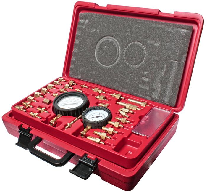 JTC Набор для тестирования инжекторов. JTC-1225CA-3505Предназначен для тестирования инжекторов. В комплект входят манометр 3-1/2 со шкалами 0-145PSI и 0-1000кПа, манометр низкого давления 2-1/2 (для давления нже 15PSI), адаптеры, шланги и разнообразные разъёмы для оперативной диагностики инжекторов, а также надёжный пластиковый кейс и руководство по эксплуатации. Все манометры, шланги и адаптеры имеют быстросъемные соединения для удобного подключения. Уникально спроектированный перепускной клапан позволяет сбросить давление и обеспечивает безопасное использование тестера, а также позволяет контролировать расход топлива. Не требует применения гаечных ключей и специальных адаптеров. Упаковка: прочный переносной кейс. Количество в оптовой упаковке: 6 шт. Габаритные размеры: 440/270/95 мм. (Д/Ш/В) Вес: 4807 гр.