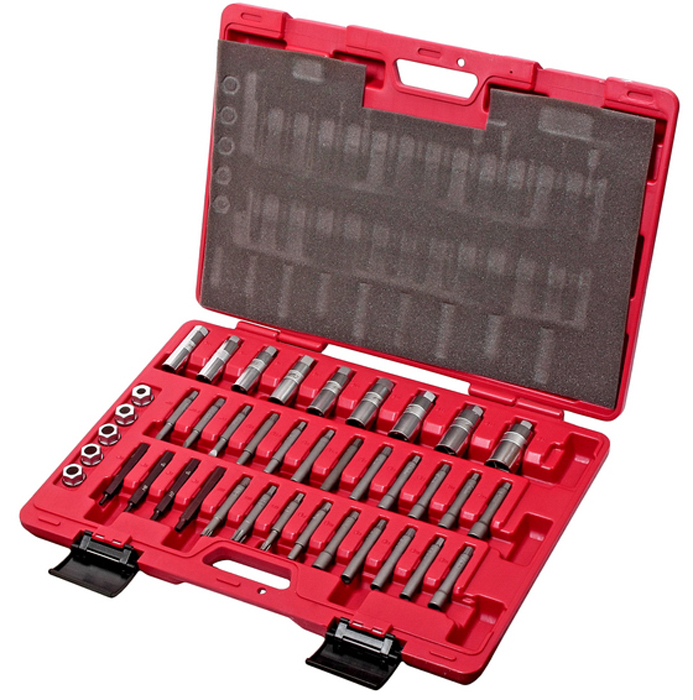 JTC Набор ключей сервисных для стоек, универсальный. JTC-1323CA-3505Комплект для обслуживания большинства марок автомобилей. В комплекте 39 предметов.В комплекте: 2 шт. головки диаметром 5, 10 мм. 9 шт. головки диаметром 4, 5.2, 6, 6.3, 7, 8, 9, 10, 12 мм. 4 шт. головки диаметром 5, 6, 7, 8 мм. 3 шт. головки диаметром 3, 3.5, 4 мм. 2 шт. головки диаметром Т50, Т60 1 шт. головка М12 4 шт. головки диаметром 8, 9, 10, 11 мм. 9 шт. головки диаметром 14, 16, 17, 18, 19, 21, 22, 24, 27 мм. 5 шт. головки диаметром 10.5, 12.5, 14, 14.5, 14.5 мм. Упаковка: прочный переносной кейс. Количество в оптовой упаковке: 4 шт. Габаритные размеры: 575/410/75 мм. (Д/Ш/В) Вес: 5786 гр.