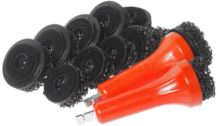 JTC Набор насадок для чистки шпилек ступицы. JTC-1541CA-3505Применяется для очистки загрязнений шпилек и корпуса колесного диска. В комплекте:Насадка для затирки 1-1/2;х6 шт. Насадка для затирки 2;x6 шт. Держатель насадки х 2 шт.Всего: 14 шт. Габаритные размеры: 280/160/70 мм. (Д/Ш/В) Вес: 482 гр.