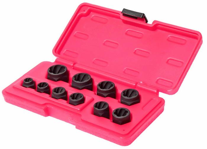 JTC Набор головок для поврежденных болтов и гаек 8-19 мм, 10 предметов. JTC-1545CA-3505Применяется для извлечения поврежденных болтов и гаек. Специальная спиральная внутренняя резьба надежно фиксирует поврежденную гайку или головку болта. Специальная шестигранная конструкция для глубоко посаженных гаек вала. Размеры: 8, 10, 11, 12, 13, 14, 15, 16, 17, 19 мм. В наборе 10 предметов. Упаковка: прочный пластиковый кейс. Габаритные размеры: 200/100/30 мм. (Д/Ш/В) Вес: 500 гр.