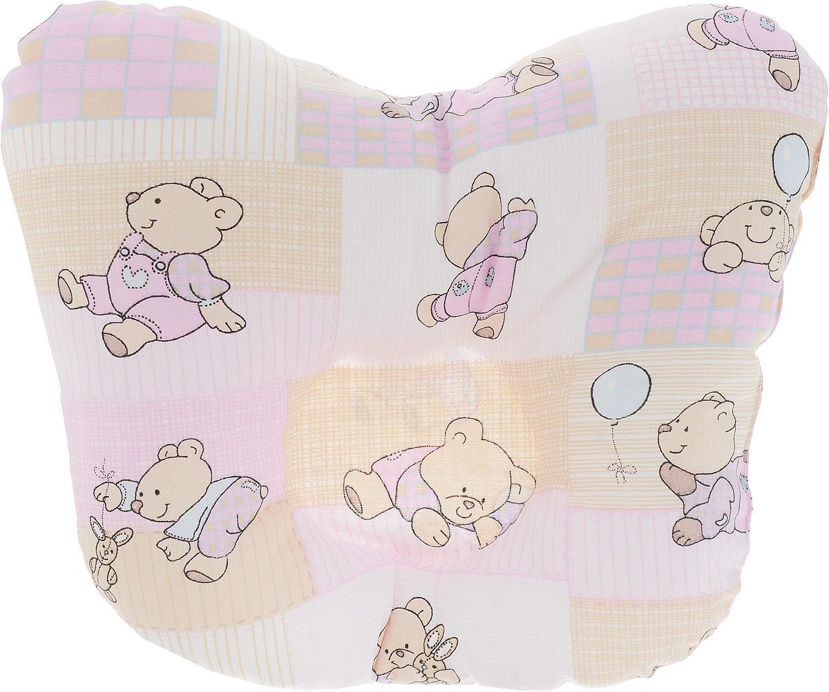 Сонный гномик Подушка анатомическая для младенцев Мишки и заяц цвет розовый бежевый 27 х 27 см