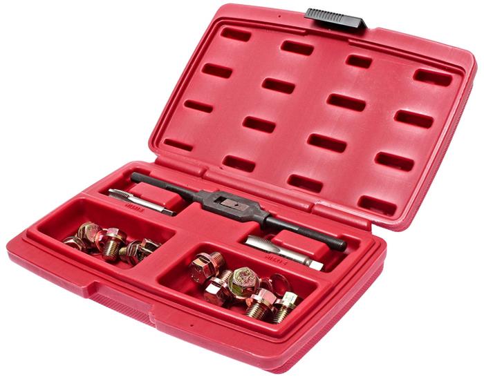 JTC Набор для ремонта маслосливных отверстий. JTC-2029CA-3505Ремкомплект для маслосливных отверстий 12 мм и 14 мм JTCОписание Применение: маслосливные отверстия 12 мм и 14 мм. Метчики применяются для восстановления поврежденной резьбы в отверстиях маслосливных пробок В комплекте: Метчики: М13х1.5 (1 шт.), М15х1.5 (1 шт).Вороток: (1 шт.)Болты: М13 (5 шт.), М15 (5 шт).Шайба медная: М13 (5 шт.), М15 (5 шт.) Упаковано в прочный кейс. Габаритные размеры: 270/190/55 мм. (Д/Ш/В) Вес: 1034 г.