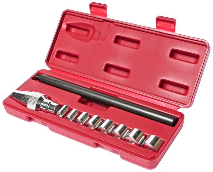 """JTC Набор для центровки дисков сцепления универсальный. JTC-2120CA-3505 Применяется для центрирования дисков сцепления на большинстве легковых и легких грузовых автомобилях, а также для тракторов. Обеспечивает аккуратную установку диска сцепления цанговым захватом в направляющую втулку или подшипник. Размеры: 8 муфт размерами от 0.465; (11.8 мм.) до 0.980""""(24.9 мм.). Упаковка: прочный переносной кейс. Количество в оптовой упаковке: 25 шт. Габаритные размеры: 250/100/50 мм. (Д/Ш/В) Вес: 677 гр."""