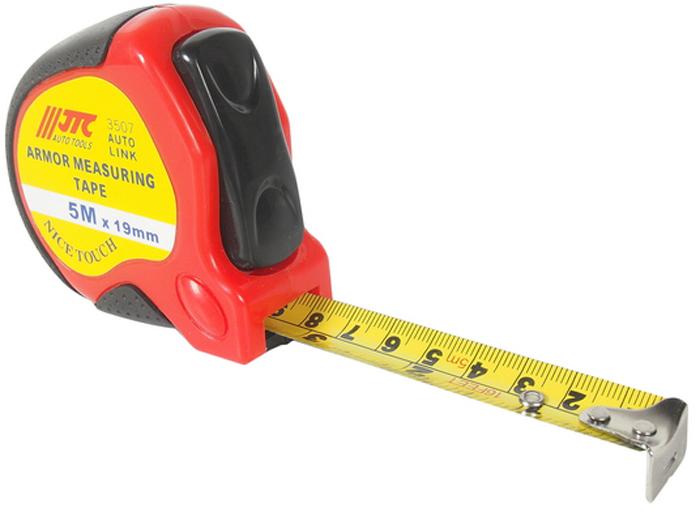 JTC Рулетка, 5 м. JTC-3507CA-3505Длина: 5 метров. Ширина: 19 мм. Прорезиненный корпус для удобства работы. Габаритные размеры: 80/70/40 мм. (Д/Ш/В) Вес: 177 гр.