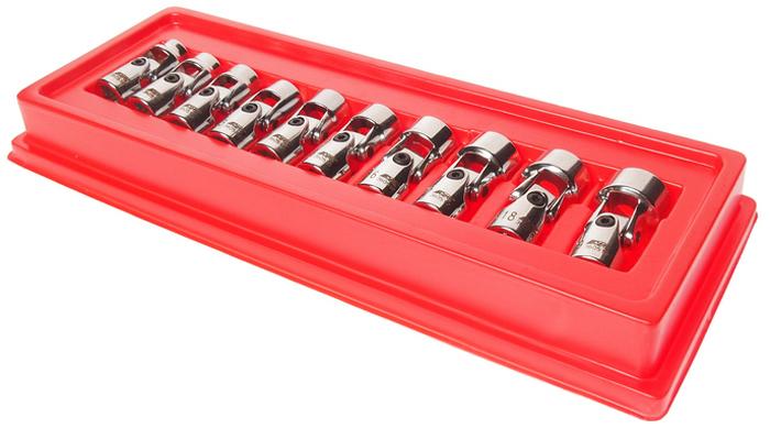 JTC Набор головок торцевых с карданом 3/8 6-гранных 10-19 мм. JTC-3605CA-3505В комплекте: 10, 11, 12, 13, 14, 15, 16, 17, 18, 19 мм. Набор удобен для выполнения различных работ при обслуживании транспортных средств и промышленного оборудования. Головки с шарнирами, предназначенные под ключ 3/8, позволяют выполнять работы в узких и труднодоступных местах.Набор упакован в прочный пластиковый кейс.Габаритные размеры: 310/125/35 мм. (Д/Ш/В)Вес: 725 г.