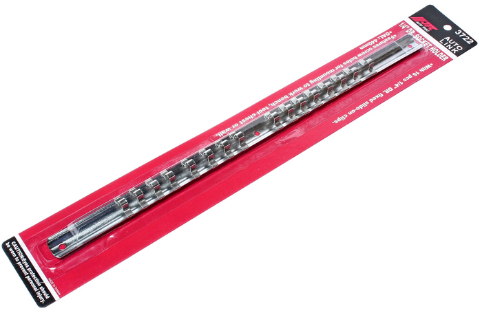 JTC Держатель головок 1/4. JTC-3722CA-3505Планка для удержания головок квадратом присоединения 1/4; с возможностью крепления к стене или верстаку. Стальная рейка с фиксаторами надежно удерживает головки. Головки легко снимаются. имеет отверстие для крепления на верстаке, инструментальном стенде или на стене. Размер: : 1/4;. Длина: 400 мм.Вместимость: 16 головок Количество в оптовой упаковке: 100 шт. Габаритные размеры: 485/70/20 мм. (Д/Ш/В) Вес: 83 гр.