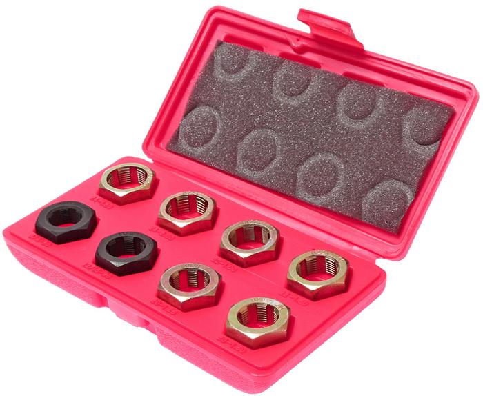 JTC Набор для восстановления резьбы оси ШРУСа, 8 предметов. JTC-3917CA-3505В комплект входят 8 плашек, которые применяются во время работ по восстановлению резьбы шейки оси размерами М24х1.5, М24х2.0, М22х1.0, М22х1.5, М20х1.5, М20х1.25, 13/16х20 UNEF, 3/4х20 UNEF. Используется с ключом или головкой 1-1/4. В комплекте 8 предметов. Упаковка: прочный пластиковый кейс. Габаритные размеры: 200/110/40 мм. (Д/Ш/В) Вес: 564 гр.
