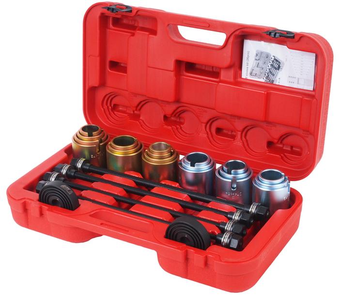JTC Набор для снятия и установки втулок, универсальный. JTC-4091CA-3505Универсальный набор используется для снятия и установки подшипников , подшипников с резиновой втулкой, сайлентблоков, втулок. Подходит для большинства автомобилей. Гильзы 20 шт.: внутренний диаметр 34-72 мм. (с шагом 2 мм.); Опорные диски 2 шт., применяется с гильзами. Болты длина: 450 мм: M10, M12, M14, M16. Упаковка: прочный переносной кейс. Габаритные размеры: 600/250/70 мм. (Д/Ш/В) Вес: 3300 гр.