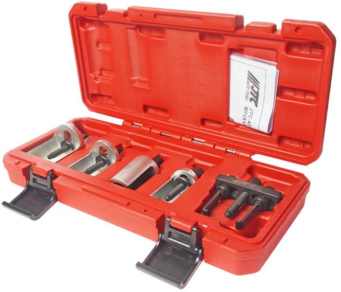 JTC Набор съемников стеклоочистителя, 5 предметов. JTC-4275RC-100BWCУниверсальное применение. В набор входят 4 регулируемых и один универсальный съемник, которые предназначены для демонтажа рычагов стеклоочистителя.Общее количество предметов: 5. Упаковка: прочный пластиковый кейс.Габаритные размеры: 325/160/55 мм. (Д/Ш/В)Вес: 1197 гр.