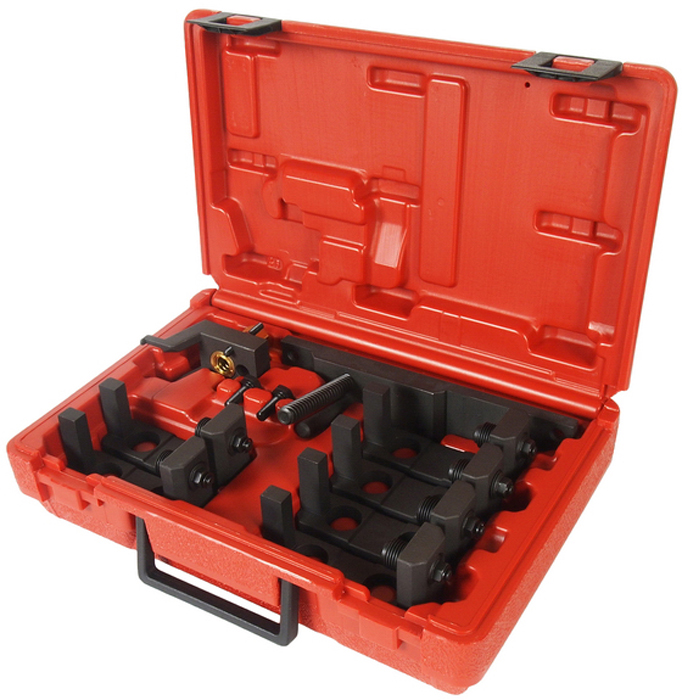 JTC Специнструмент для фиксации опорных планок (BMW). JTC-427680625Применяется для фиксации верхней и нижней опорной планки при установке распредвала выпускных клапанов на двигателях N51/52.В комплекте: Прижимы - 6 шт. Болты М7 - 2 шт. Прижимное приспособление - 1 шт. Оригинальный номер ОЕМ: 114460.Габаритные размеры: 290/190/100 мм. (Д/Ш/В)Вес: 2250 гр.ПОДРОБНАЯ ВИДЕОИНСТРУКЦИЯ