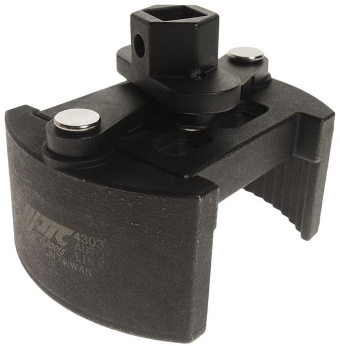 """JTC Ключ для снятия масляного фильтра двухпозиционный. JTC-4303RC-100BWCОсобая рифленая конструкция способствует крепкому захвату масляного фильтра.Универсальный дизайн для масляных фильтров различных типов.Специальная пружина в конструкции ключа предотвращает выскальзывание фильтра.Диаметр: 80-110.Ключ: 1/2""""Dr.х22 мм."""