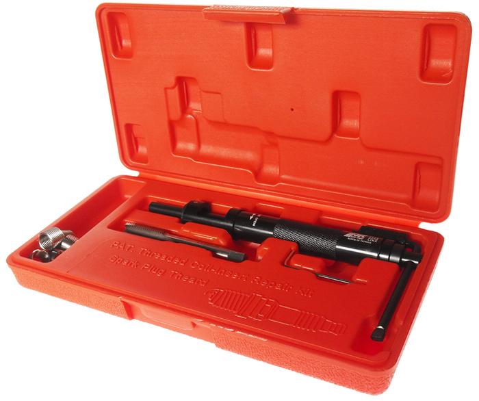 """JTC Набор для восстановления резьбы свечей зажигания, пружинная вставка, 5 шт. JTC-4310CA-3505Набор специально предназначен для реконструкции резьбы свечей зажигания.В комплект входит направляющая втулка, специальные метчики и шестигранный ключ.Характеристики вставок: М11х1.5 (41/64"""") – 5 шт.Размер: М11х1.5.Габаритные размеры: 240/120/40 мм. (Д/Ш/В)Вес: 430 гр."""
