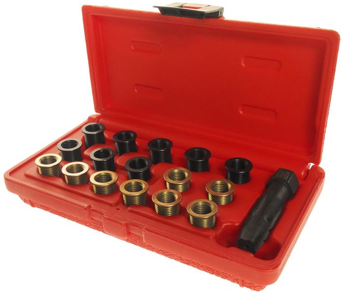 JTC Набор для восстановления резьбы свечей зажигания. JTC-4314CA-3505Набор специально предназначен для реконструкции резьбы свечей зажигания.Резьбовая втулка применяется как для внутренней, так и для наружной резьбы.Размеры: М12х1.25Характеристики резьбовых втулок: М12х1.25 (12.7 мм.) – 8 шт.; М12х1.25 (19 мм.) – 8 шт.Установка метчика: используется с головкой 14 мм.Размер метчика: М12х1.25/М14х1.25.Габаритные размеры: 190/100/40 мм. (Д/Ш/В)Вес: 310 гр.