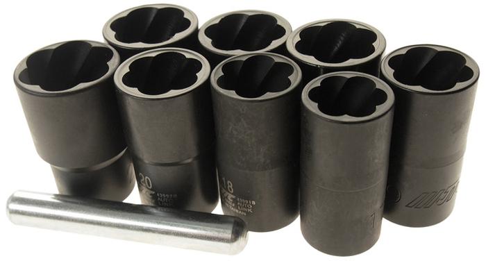 """JTC Набор головок для поврежденных болтов. JTC-4399SCA-3505Используют для откручивания поврежденных болтов и гаек.Специальная спиральная конструкция позволяет легко демонтировать поврежденные болты и гайки.Может применятся для демонтажа секретных болтов и гаек.Размеры: 1/2"""" DRх17, 18, 19, 20, 21, 22, 23, 24 мм.Длина: 50 мм."""
