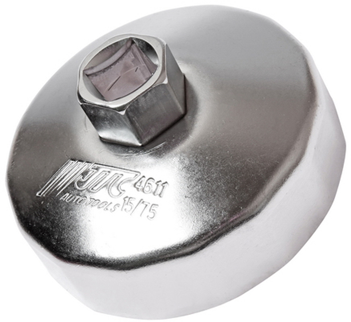 JTC Съемник масляного фильтра. JTC-4611RC-100BWCПредназначен для снятия масляного фильтра в ходе проведения диагностических работ. Форма - 15-гранная чашка. Размеры: 15 граней/75 мм. Применение: Форд (Ford), Мазда (Mazda), Ленд Ровер (Land Rover), Вольво (Volvo). Инструмент: 1/2, 21 мм. Количество в оптовой упаковке: 10 шт. и 100 шт. Габаритные размеры: 145/110/40 мм. (Д/Ш/В) Вес: 200 гр.