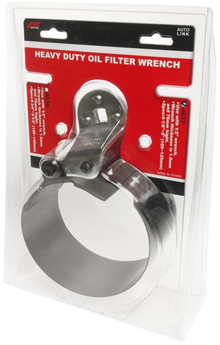 JTC Ключ для снятия масляного фильтра ленточный усиленный, 105-125 мм. JTC-46372706 (ПО)Используется с ключом 1/2.Толщина ленты 1,0 мм, высота - 76 мм.Диаметр захвата: 4-1/8 - 5 (105-125 мм).