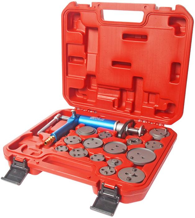 JTC Набор для обслуживания тормозных цилиндров. JTC-4687JTC-4378При помощи пневматического привода создается необходимое давление для разводки поршней тормозных цилиндров. Рукоять фиксирует поршень в сжатом положении. Комплект используется для разведения тормозных поршней. Подходит для любых марок автомобилей. В комплекте: пневмопривод и 15 адаптеров. Упаковка: прочный переносной бокс.Габаритные размеры: 340/310/90 мм. (Д/Ш/В)Вес: 3055 гр.