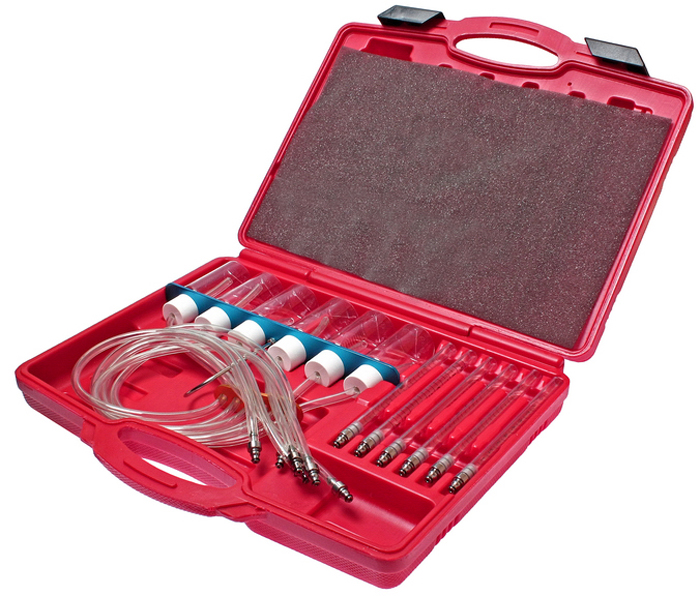 JTC Измеритель расхода топлива для двигателей с системой впрыска COMMON RAIL. JTC-4776RC-100BWCИспользуется для измерения количества топлива, которое каждая форсунка возвращает в топливный бак. Одновременно позволяет подключать до 6 форсунок. Применяется с адаптерами JTC-4777. Упаковка: прочный переносной кейс.Габаритные размеры: 385/290/80 мм. (Д/Ш/В)Вес: 1332 гр.