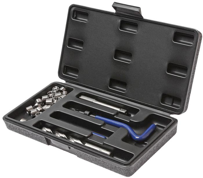 JTC Набор для восстановления резьбы (вставки M10x1,25, длина 13,5 мм, 10 шт), 14 предметов. JTC-478300000007528В комплекте 14 предметов В комплект входят: сверло, метчик, установочный инструмент, инструмент для обламывания хвостовика, резьбовые вставки Размеры: М10х1.25 Длина: 13.5 мм. Количество резьбовых вставок: 10 шт. Упаковка: прочный пластиковый кейс.Габаритные размеры: 245/125/40 мм. (Д/Ш/В) Вес: 469 гр.