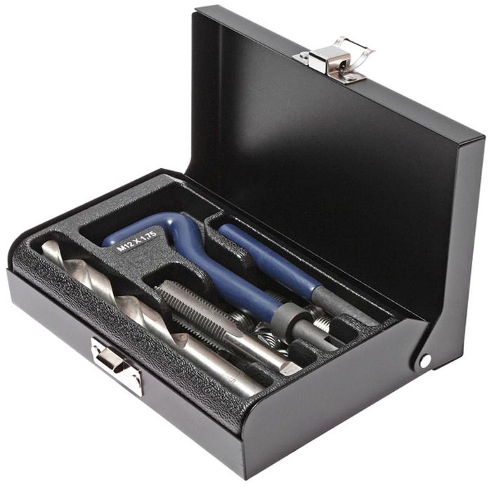 JTC Набор для восстановления резьбы (вставки M12x1,75, длина 16,3 мм, 10 шт), 14 предметов. JTC-4787K100В комплекте 14 предметов. В комплект входят: сверло, метчик, установочный инструмент, инструмент для обламывания хвостовика, резьбовые вставки. Размеры: М12х1.75. Длина: 16.3 мм. Количество резьбовых вставок: 10 шт. Упаковка: прочный пластиковый кейс.Габаритные размеры: 165/110/35 мм. (Д/Ш/В) Вес: 688 гр.