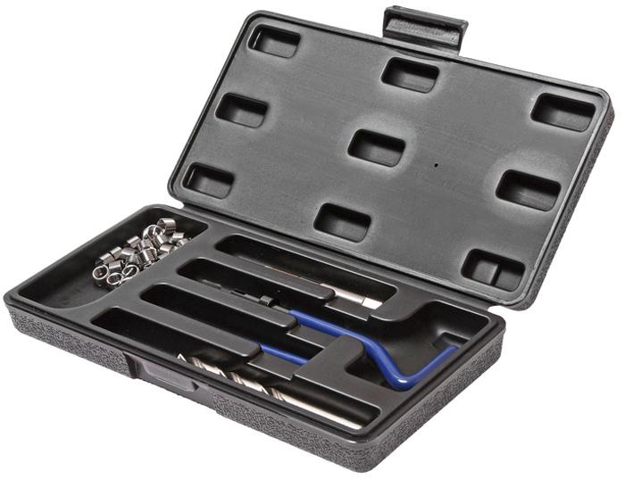 JTC Набор для восстановления резьбы (вставки M14x1,25, длина 12,4 мм, 5 шт), 9 предметов. JTC-4788CA-3505В комплекте 9 предметов В комплект входят: сверло, метчик, установочный инструмент, инструмент для обламывания хвостовика, резьбовые вставки Размеры: М14х1.25 Длина: 12.4 мм. Количество резьбовых вставок: 5 шт. Упаковка: прочный пластиковый кейс.Габаритные размеры: 165/110/35 мм. (Д/Ш/В) Вес: 688 гр.