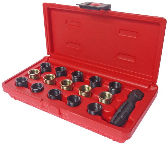 JTC Набор для восстановления резьбы свечей зажигания. JTC-4864CA-3505Набор специально предназначен для реконструкции резьбы свечей зажигания. Резьбовая втулка применяется как для внутренней, так и для наружной резьбы. Размер: М14х1.25Характеристики резьбовых втулок: M14x1.25, длина 11.2 мм. (5 шт.), 17.5 мм. (10 шт.).Установка метчика/размер метчика: используется с головкой 14 мм., М14х1.25/М16х1.25. Упаковка: прочный пластиковый кейс.Габаритные размеры: 190/105/40 мм. (Д/Ш/В)Вес: 273 гр.