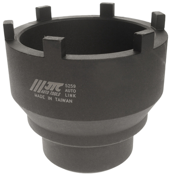 JTC Головка ступичная для задней оси MAN и MERCEDES. JTC-5259RC-100BWCГоловка специальной конструкции предназначена для снятия/установки гаек задней оси.Изготовлена из высококачественной стали, обладает высокой прочностью.Используется с ключом 3/4.Общая длина: 110 мм.Применение: Задние оси грузовых автомобилей MERCEDES BENZ и MAN 10+13T, HYPOID и TRAILER AXLE NR7/4.