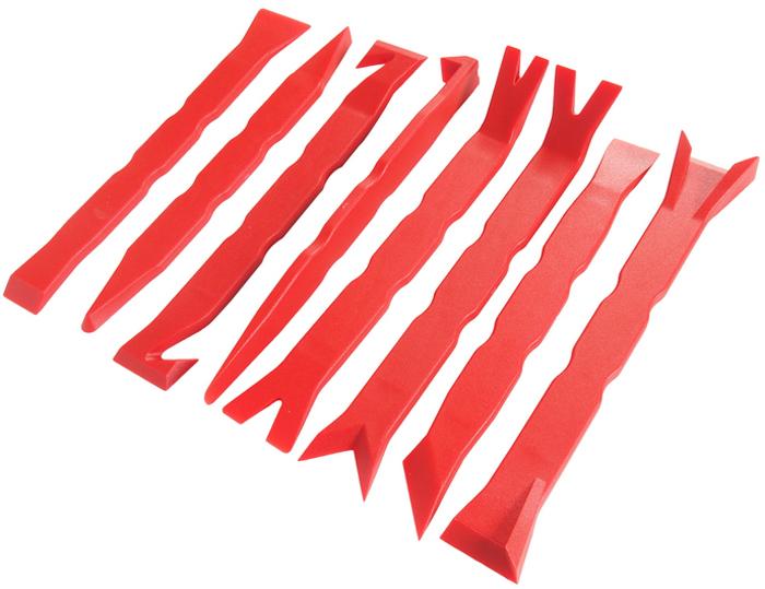 JTC Набор съемников для демонтажа облицовочных панелей, 8 предметов. JTC-5326K100В комплект входят съемники различных типов. Уникальная форма инструментов позволяет легко демонтировать различные клипсы, панели и прочие пластиковые элементы приборной панели не повреждая поверхность. Материал: стеклонейлон. Габаритные размеры: 320/255/40 мм. (Д/Ш/В)Вес: 311 гр.