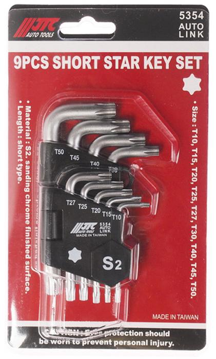 JTC Набор ключей TORX Г-образных T10-T50, 9 предметов. JTC-5354RC-100BWCПластиковый держатель предназначен для удобного хранения инструмента.Набор шестигранных удлиненных ключей позволяет оптимизировать рабочий процесс и сэкономить рабочее время.В комплекте: Т10, Т15, Т20, Т25, Т27, ТЗО, Т40, Т45, Т50.Материал: S2.Размер: Тип-короткий (длина).