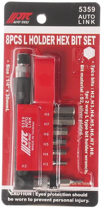 JTC Набор вставок 1/4DR 6-гранных HEX 2,3,4,5,6,7,8, с Г-образным держателем, 8 предметов. JTC-5359CA-3505Набор Бит-вставок 1/4 DR H2, H3, H4, H5, H6, H7, H8 и Г-образным держателем 8 пр. JTCМатериал: Сталь S2Поверхность посеребряннаяРазмер: 30 мм