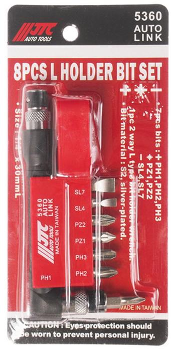 JTC Набор вставок 1/4DR Philips, с Г-образным держателем, 8 предметов. JTC-5360CA-3505Набор Бит-вставок 1/4 DR PH1, PH2, PH3, PZ1, PZ2, PZ4, SL7 и Г-образным держателем 8 пр. JTCМатериал: Сталь S2Поверхность посеребряннаяРазмер: 30 мм