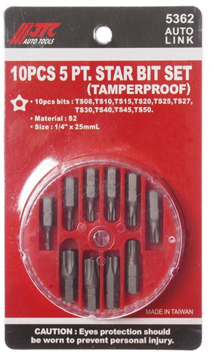 JTC Набор вставок в боксе 1/4DR TORX TS08-TS50, 10 предметов. JTC-5362FS-80423В комплекте: ТS08, ТS10, ТS15, ТS20, ТS25, ТS27, TS30, TS40, TS45, TS50.Материал: S2.Размер: 1/4х 25 мм