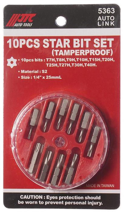 Набор вставок JTC 1/4DR Torx T7H-T40H, 10 предметов. JTC-5363YT-4916В комплекте: Т7Н, Т8Н, Т9Н, Т10Н, Т15Н, Т20Н, Т25Н, Т27Н, Т30Н, Т40Н.Материал: S2.Размер: 1/4 х 25 мм.