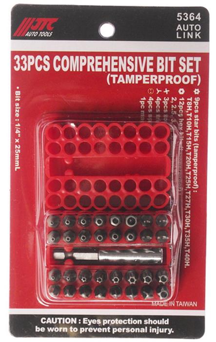 JTC Набор вставок в боксе 1/4DR, с держателем, 33 предмета. JTC-5364JTC-5360В комплекте:9 ед.: Т8Н, Т10Н, Т15Н, Т20Н, Т25Н, Т27Н, Т30Н, Т35Н, Т40Н;12 ед. HEX: 2, 2.5, 3,4,5, 6 мм. 5/64, 3/32, 7/64, 1/8, 6/64, 5/32;3 ед. Torg-set: 6, 8, 10;4 ед. Tri-wing: 1, 2, 3, 4;4 ед. spanner: 4, 6, 8, 10.1 магнитный держатель.Размер: 1/4х25 мм.