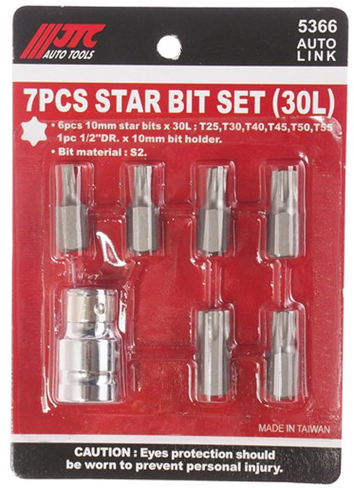 JTC Набор вставок 1/2DR, TORX Т25-55, 7 предметов. JTC-5366K100В комплекте: Т25, Т30, Т40, Т45, Т50, Т55.Материал: S2.Размер: 30 мм