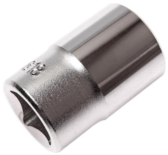 """JTC Головка торцевая 6-гранная 1/2 х 18 мм, длина 38 мм. JTC-43818JTC-438186 граней, метрический размер.Изготовлена из закаленной хром-ванадиевой стали.Размер: 1/2""""х18 мм. Длина: 38 мм.Количество в оптовой упаковке: 10 шт. и 200 шт.Габаритные размеры: 38/25/25 мм. (Д/Ш/В)Вес: 75 гр."""